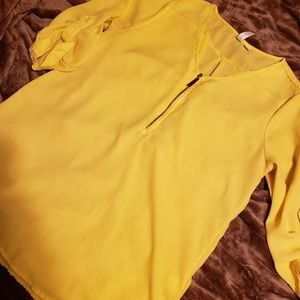 Tacera Yellow Blouse with Gold zipper